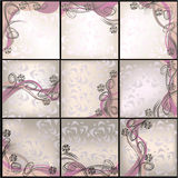 Set of cards with Vector floral background Royalty Free Stock Photos