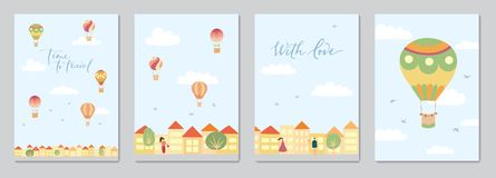 Set of cards with hot air balloons. Set of cards with vector illustration of landscape with hot air balloons in blue sky in town. Isolated flat cartoon air Royalty Free Stock Photography