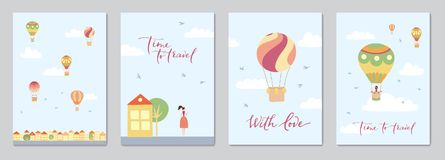 Set of cards with hot air balloons. Set of cards with vector illustration of landscape with hot air balloons in blue sky in town. Isolated flat cartoon air Stock Images