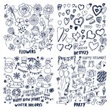 Set of Flowers Hearts Winter Holidays Party Cards. Set of cards, vector illustration with lot of different shapes striped hearts festive boxes and balloons stars Stock Photography