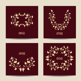 Set of cards with vintage design. Floral Royalty Free Stock Images