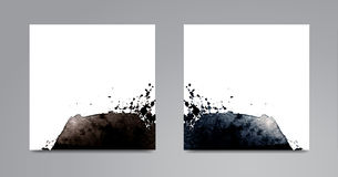 Set of cards with watercolor hand drawn blots. royalty free illustration