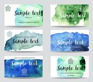 Set of cards with watercolor paint background stock images