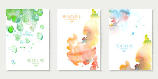 Set of cards with watercolor splashes. Abstract Stock Photography