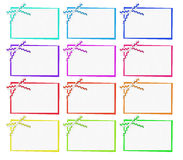 Set cards. With white ribbon with ornament Stock Photos