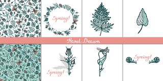 Set cards with wild plants. Wreath, seamless pattern,  objects, lettering. Congratulations to the spring. Fern, cloudberri. Es, Geum Rivale, bluebells, violets Stock Photo