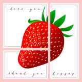 Set of cards with words love you and thank you, Strawberry on the background Stock Photos