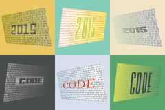 Set of 6 Cards for the Year of the 2015, on the theme of Coding. These versatile cards can be used as backgrounds on the web or can be printed as greeting cards Stock Photos