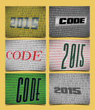 Set of 6 Cards for the Year of the 2015, on the theme of Coding Royalty Free Stock Photography