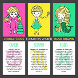 Set of 3 cards zodiac signs Royalty Free Stock Photos