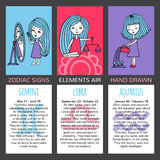 Set of 3 cards zodiac signs Stock Images