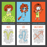 Set of 3 cards zodiac signs. Zodiac signs and their characteristics. The set of three cards. Elements fire. Aries, Leo, Sagittarius. Girls hand-painted on Royalty Free Stock Image