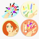 Set of care products and nail decoration. vector illustration Stock Images