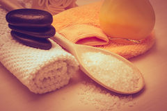 Set for care of skin body, bath accessories Stock Images