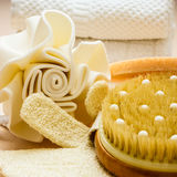 Set for care of skin body, bath accessories Royalty Free Stock Photos