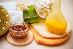 Set for care of skin body, bath accessories Royalty Free Stock Photography