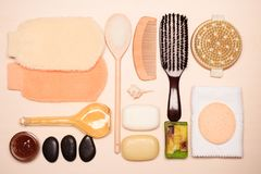 Set for care of skin body, bath accessories. Beauty treatment and body care. Spa products big set of bath room accessories on wooden board top view Royalty Free Stock Image