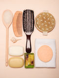 Set for care of skin body, bath accessories Royalty Free Stock Photo