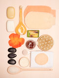 Set for care of skin body, bath accessories Royalty Free Stock Image