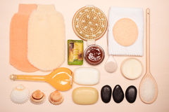 Set for care of skin body, bath accessories. Beauty treatment and body care. Spa products big set of bath room accessories on wooden board top view Stock Photography