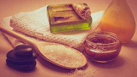 Set for care of skin body, bath accessories. Beauty treatment therapy and skin care. Closeup spa products some bath accessories on wooden table Stock Photo