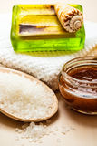 Set for care of skin body, bath accessories. Beauty treatment therapy and skin care. Closeup spa products some bath accessories on wooden table Royalty Free Stock Images
