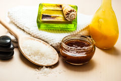 Set for care of skin body, bath accessories. Beauty treatment therapy and skin care. Closeup spa products some bath accessories on wooden table Stock Photography