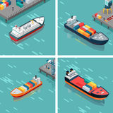 Set of Cargo or Container Ship Unloading Goods Stock Photo