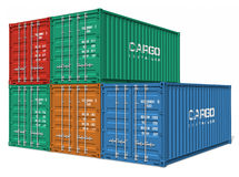 Set of cargo containers. Set of color cargo containers isolated over white background Stock Image