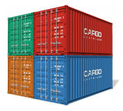Set of cargo containers. Set of four color cargo containers isolated on white background Stock Image