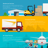 Set of Cargo Delivery Banners Royalty Free Stock Photography