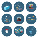 Set of Cargo Icons, Freight Transportation Royalty Free Stock Image