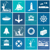 Set of Cargo and Marine Icons Stock Photography
