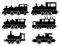 Set with cargo train silhouette Stock Images