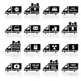 Set of Cargo trucks black icons Royalty Free Stock Images