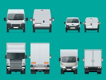 Set of cargo trucks front and rear view. Delivery Vehicles isolated. Cargo Truck and Van. Vector illustration. Set of cargo trucks front and rear view. Delivery vector illustration
