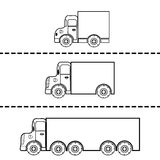 Set of cargo trucks vector illustration Royalty Free Stock Photography