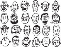 Set of caricature faces Stock Image