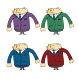 Set of caricatures the employee  security guard in different clothes Stock Photos