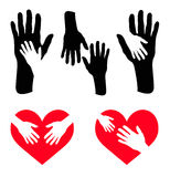 Set of caring hand and hand on red heart Royalty Free Stock Photography