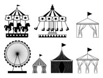 Set of carnival circus icons. Amusement park collection vector illustration
