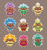 Set of carnival costume people stickers Royalty Free Stock Photos