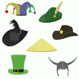 Set of carnival hats flat style. Set of carnival caps isolated on white background vector illustration
