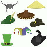 Set of carnival hats flat style. Set of carnival caps isolated on white background Stock Images