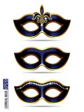 Set of Carnival Mask. Masquerade, Mardi Gras. Carnival glittering design for Night Party Poster, Dance Party Flyer, Musical Party Banner, Carnival Invitation Stock Photo