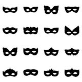 Set of carnival mask silhouettes,  illustration Royalty Free Stock Image
