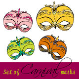 Set of carnival masks Stock Photos