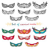 Set of carnival masks. Black and white and color. Doodle style. Vector Stock Photos