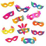 Set of carnival masks different forms Royalty Free Stock Images