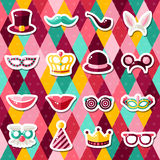 Set of Carnival Masks on Geometric Background. Set of Carnival Masks on Colorful Geometric Background. Vector illustration. Masquerade Party Stickers Royalty Free Stock Photography